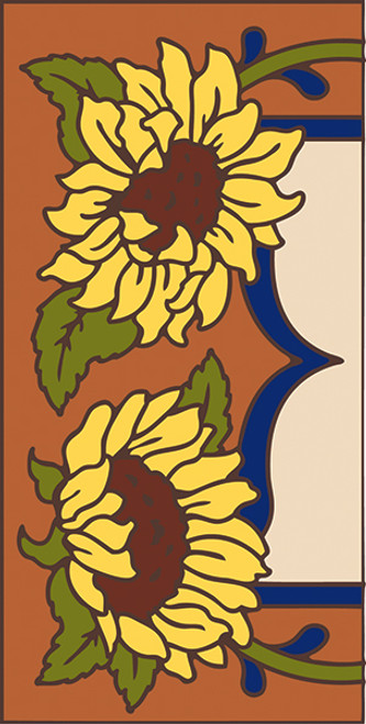 3x6 Tile Garden Sunflower Left