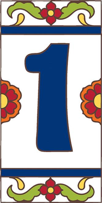 3x6 Tile House Number White Talavera #1