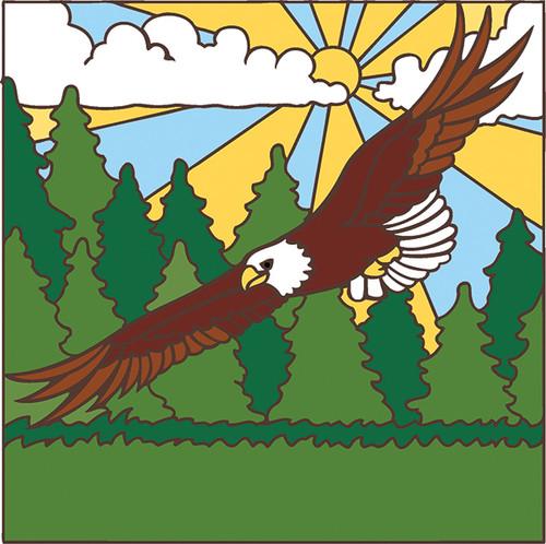 6x6 Tile Bald Eagle Soaring Tree Tops