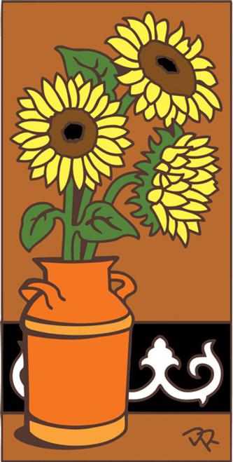 3x6 Tile Sunflowers in Pot Terracotta 3025R
