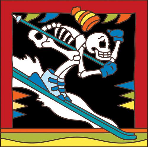 6x6 Tile Day of the Dead Skiier