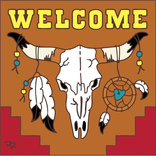 6x6 Tile Welcome Steer Skull Terracotta 7700R