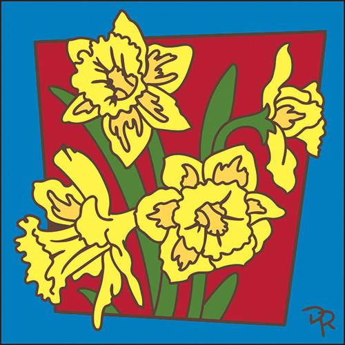 6x6 Tile Framed Daffodils 8289A