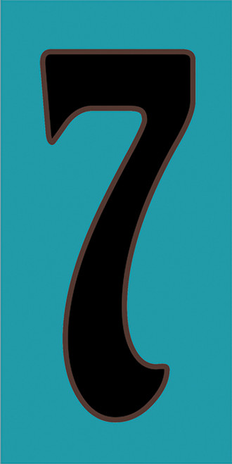 3x6 Tile House Number Turquoise #7