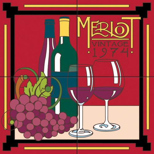 12x12 Tile Mural Merlot, Red Wine
