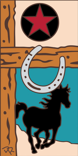 3x6 Tile Horse and Horseshoe Sand 3024A