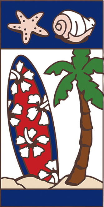 3x6 Tile Nautical Surfboard Right