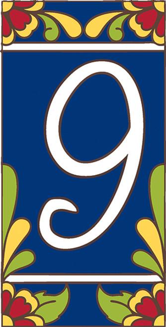 3x6 Tile House Number Cobalt Talavera #9