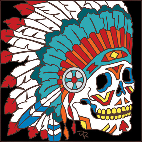 6x6 Tile Day of the Dead Indian Chief 7788A