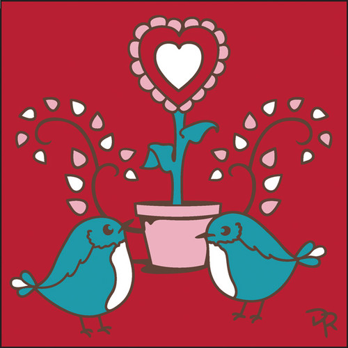 6x6 Tile Potted Heart Love Birds