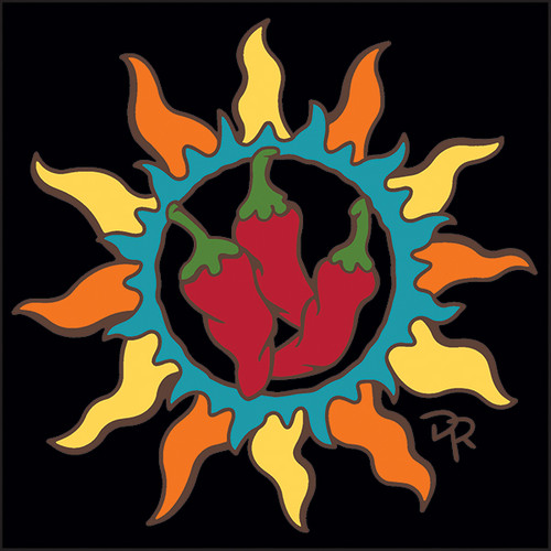 6x6 Tile Southwest Sun with Chili Peppers 8345A