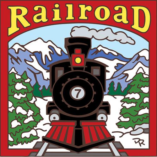 6x6 Tile Train Traveling Mountain Railroad Tracks