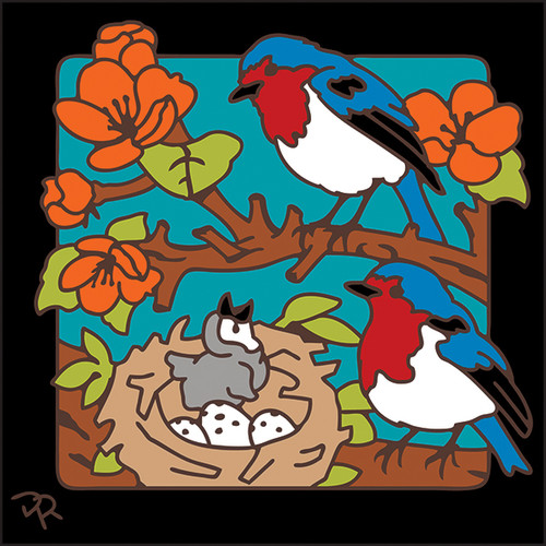 6x6 Tile Bird Nest and Blossoms