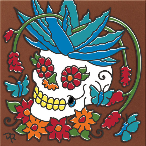 """6X6 Tile Day of the Dead Agave Head """"Naturals"""""""