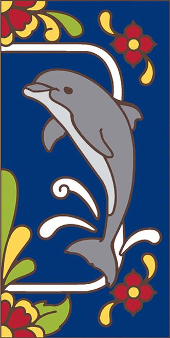 3x6 Tile Cobalt Talavera Dolphin Right End