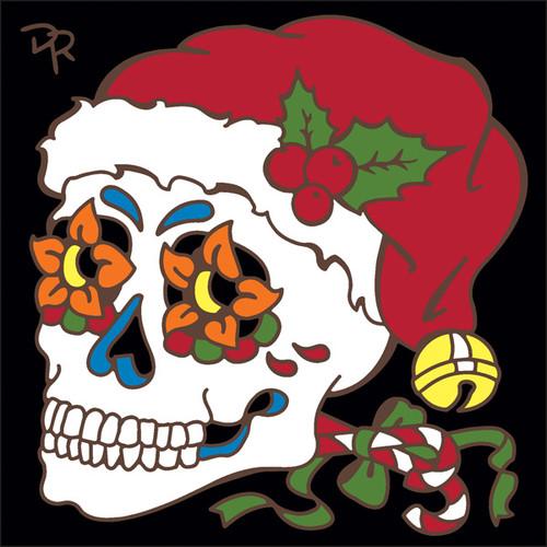 6x6 Tile Day of the Dead Santa Sugar Skull