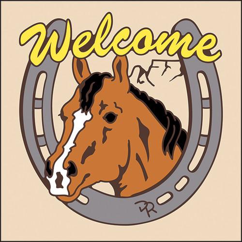 6x6 Tile Welcome Horse & Horseshoe Sand 7957A