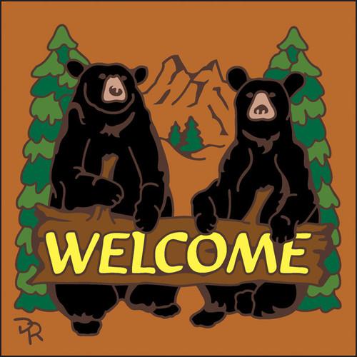 6x6 Tile Welcome Bears Terracotta 7949R