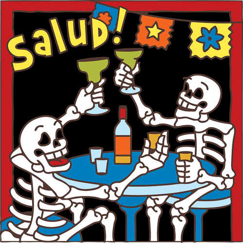 6x6 Tile Day of the Dead SALUD!