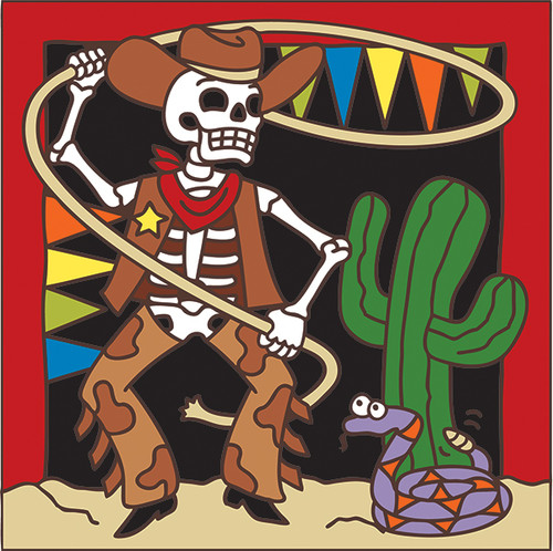 6x6 Tile Day of the Dead Cowboy and Rope 7455A