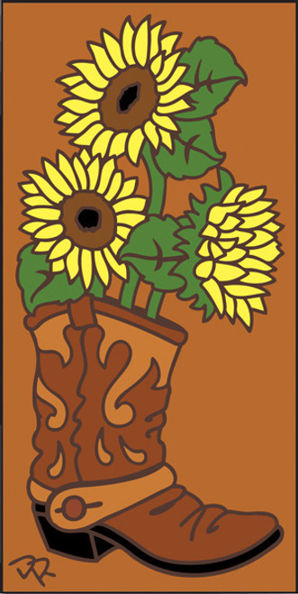 3x6 Tile Boot with Sunflowers Terracotta 3028R
