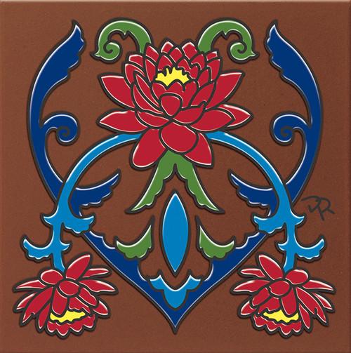 "6X6 Tile Talavera Lotus Flower ""Naturals"""