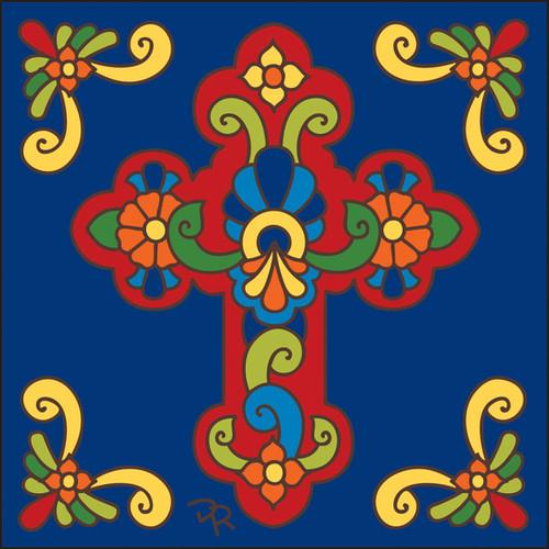 6x6 Tile Talavera Cross/Cobalt 7830C