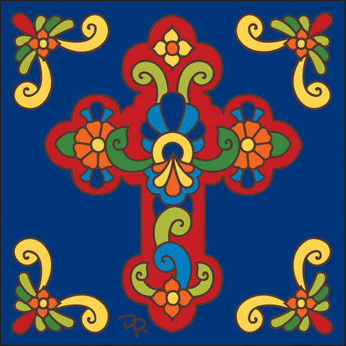 6x6 Tile Talavera Cross/Cobalt 7830C