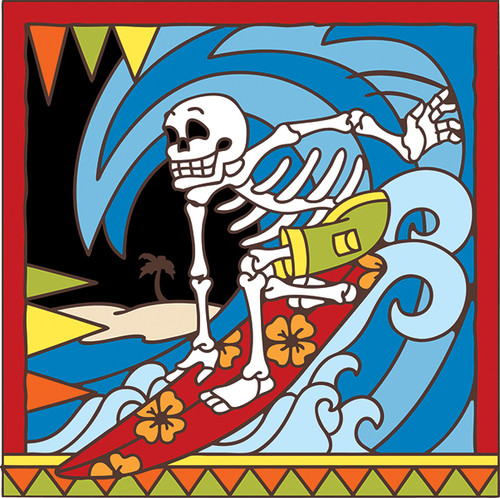 6x6 Tile Day of the Dead Surfer Riding Wave 7564A