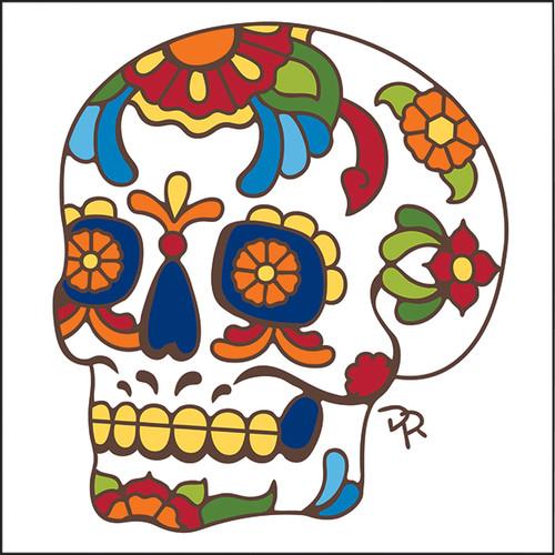 6x6 Tile Talavera Sugar Skull White 8184W