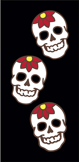 3x6 Tile Black Day of the Dead Flower Skulls Right End