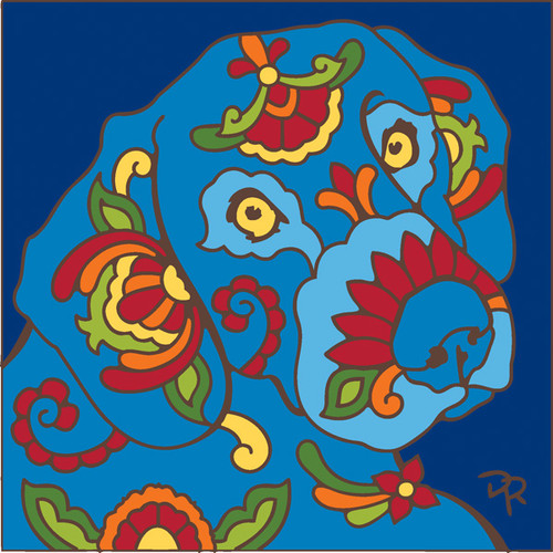 6x6 Tile Talavera Styled Dog Cobalt
