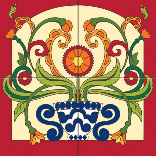 12x12 Tile Mural Floral Pot