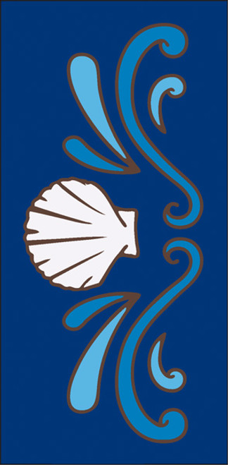 3x6 Tile Sea Shell Border Cobalt