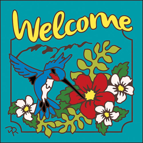6x6 Tile Welcome Hummer Floral Turquoise 7955TQ