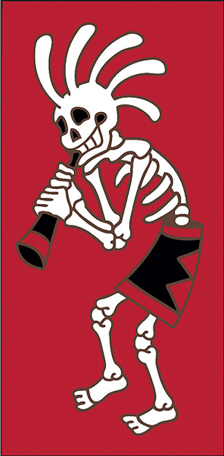 3x6 Tile Red Day of the Dead Kokoskelli Right End