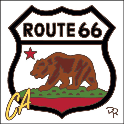 6x6 Tile Route 66 CA Bear White Background