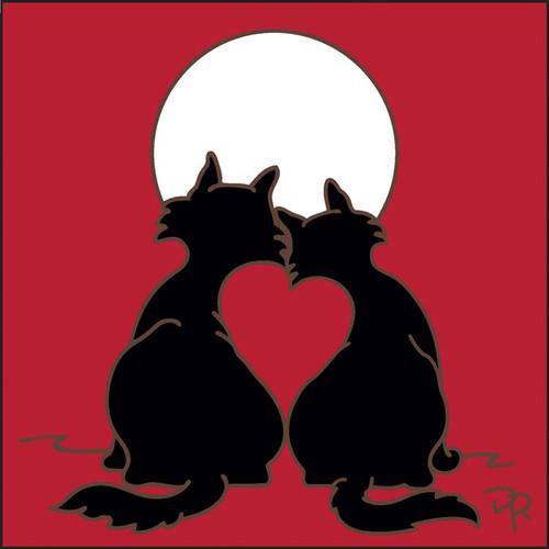 6x6 Tile Moonstruck Kitty Love