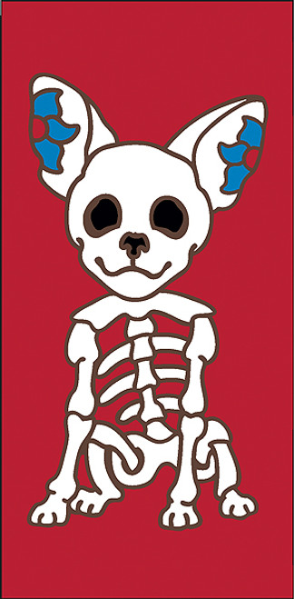3x6 Tile Red Day of the Dead Chihuahua End
