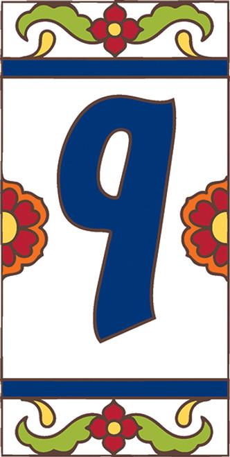 3x6 Tile House Number White Talavera #9