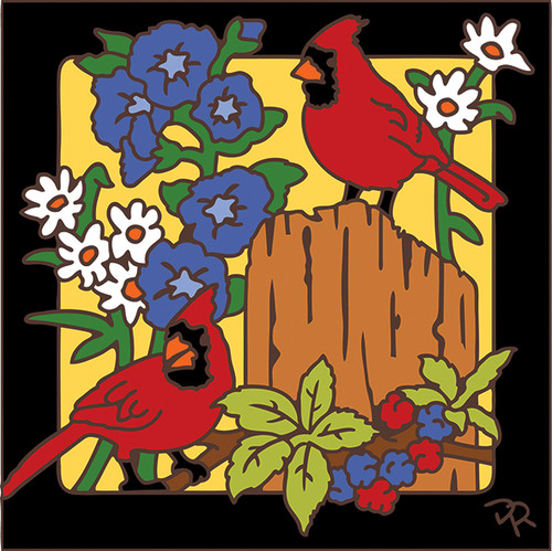 6x6 Tile Cardinals on Fence Post 7981A