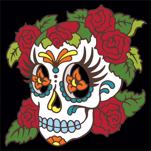 6x6 Tile Day of the Dead Skull with Roses