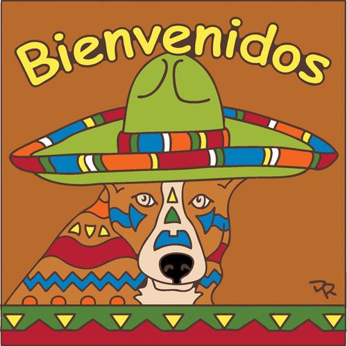6x6 Tile Bienvenidos Dog Terracotta 7694R
