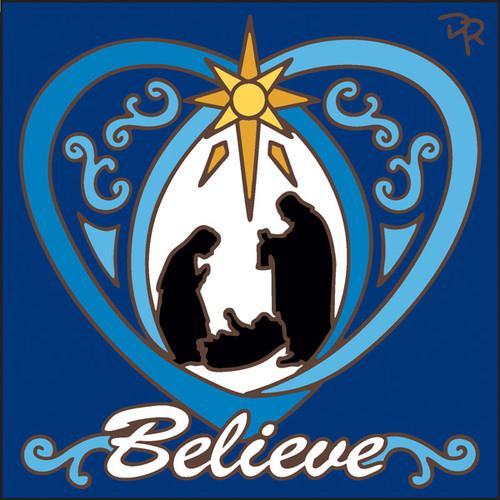 6x6 Tile Believe Nativity Cobalt