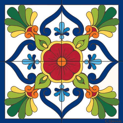 12x12 Tile Mural Traditional Talavera