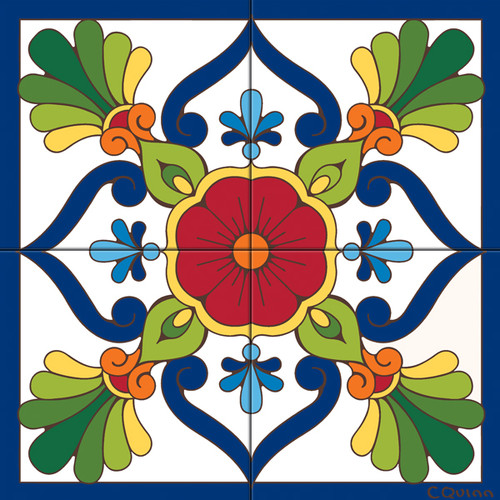 12x12 Tile Mural Traditional Talavera
