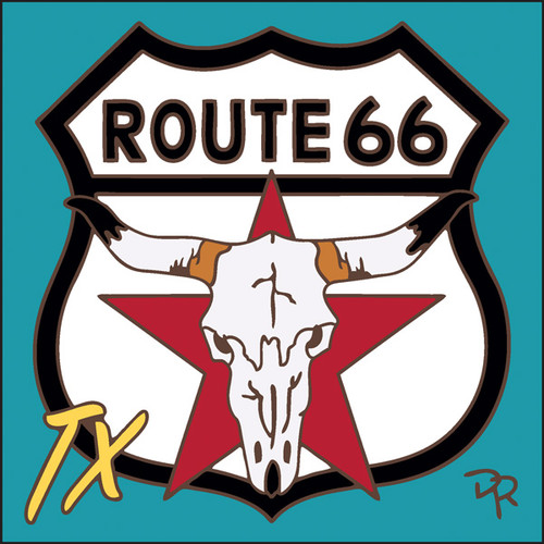 6x6 Tile Route 66 TX Longhorn Turquoise Background