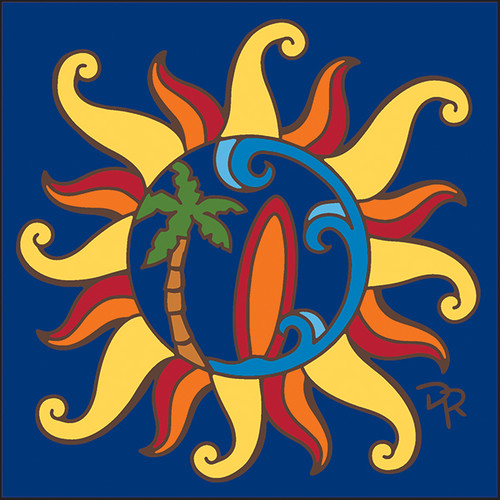 6x6 Tile Nautical Sun with Surfboard & Palm Tree 8355A