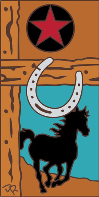 3x6 Tile Horse and Horseshoe Terracotta 3024R