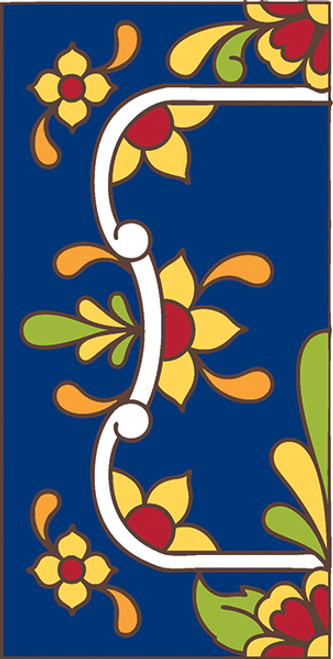 3x6 Tile House Number Cobalt Talavera Left End